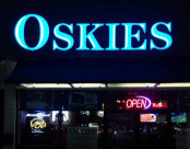 Lit Up Oskies Sign