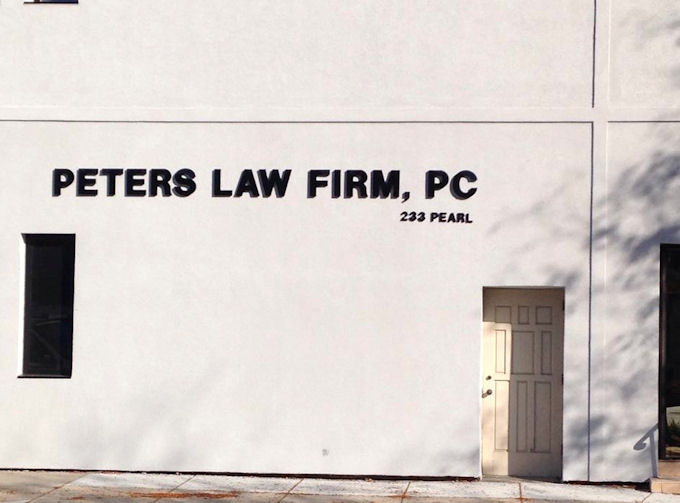 Injected Molded Lettering for Peters Law Firm